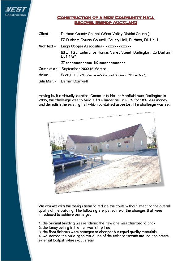 Retail & Leisure – VEST Construction- LIVECO Ltd